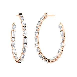 3.12 CTW White Topaz Hoops Earrings 14K Rose Gold