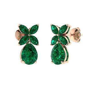 3.32 CTW Emerald Drops Earrings 14K Rose Gold