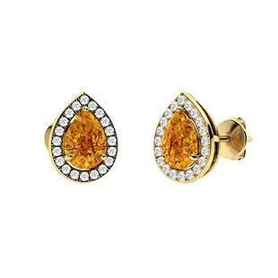 1.48 CTW Citrine Halo Earrings 14K Yellow Gold