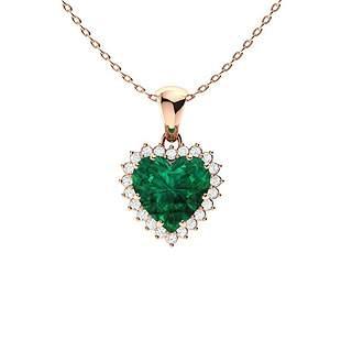 1.64 ctw Emerald & Diamond Necklace 18K Rose Gold