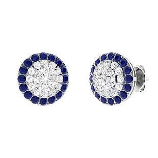1.86 CTW White Topaz Halo Earrings 18K White Gold