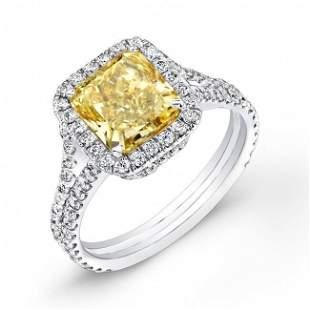Natural 2.02 CTW Radiant Cut Canary Yellow Halo Diamond
