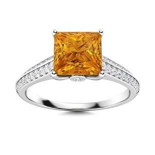 Natural 1.35 CTW Citrine & Diamond Engagement Ring 14K