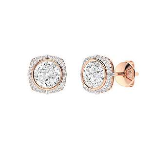 2.99 CTW White Topaz & Diamond Halo Earrings 14K Rose