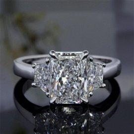 Natural 2.52 CTW Radiant Cut 3-Stone Diamond Engagement