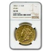 1853/1--3 $20 Liberty Gold Double Eagle AU-58 NGC