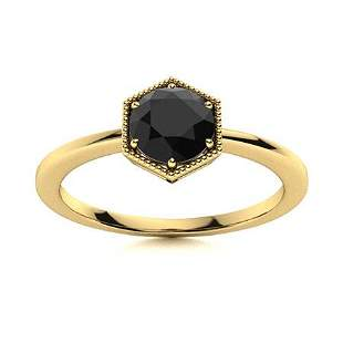 Natural 0.62 CTW Black Diamond Solitaire Ring 18K