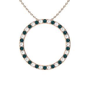 0.52 ctw White & Blue Diamond Necklace 18K Rose Gold