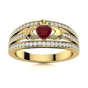 Natural 0.72 CTW Ruby & Diamond Engagement Ring 18K