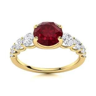 Natural 2.04 CTW Ruby & Diamond Engagement Ring 18K