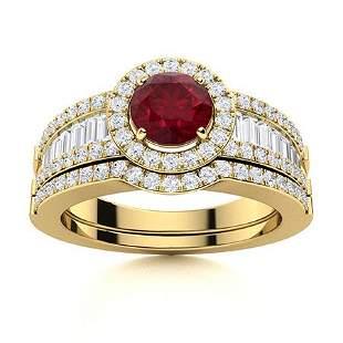 Natural 1.56 CTW Ruby & Diamond Engagement Ring 18K