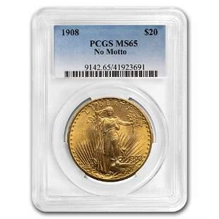 1908 $20 Saint-Gaudens Gold Double Eagle No Motto MS-65