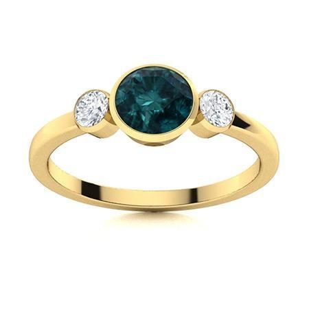 Natural 0.82 CTW Blue & White Diamond Engagement Ring