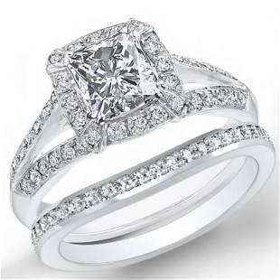 Natural 2.32 CTW Halo Radiant Cut Split Shank Diamond