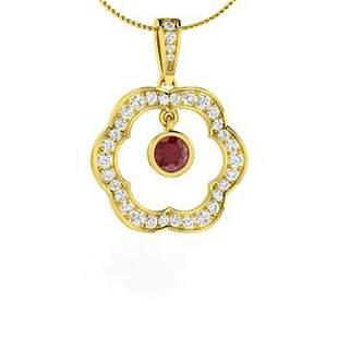 0.75 ctw Ruby & Diamond Necklace 18K Yellow Gold