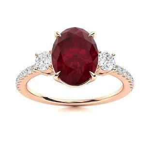 Natural 3.15 CTW Ruby & Diamond Engagement Ring 18K