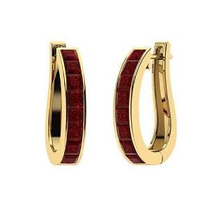 2 CTW Garnet Hoops Earrings 14K Yellow Gold