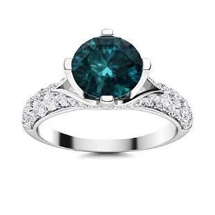 Natural 1.63 CTW Blue & White Diamond Engagement Ring