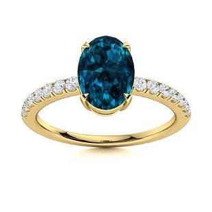 Natural 3.34 CTW Topaz & Diamond Engagement Ring 14K