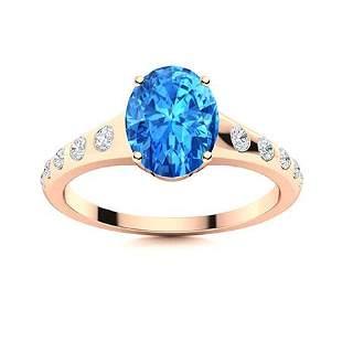 Natural 4.19 CTW Topaz & Diamond Engagement Ring 14K