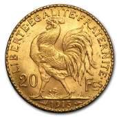 1913 France Gold 20 Francs Rooster BU