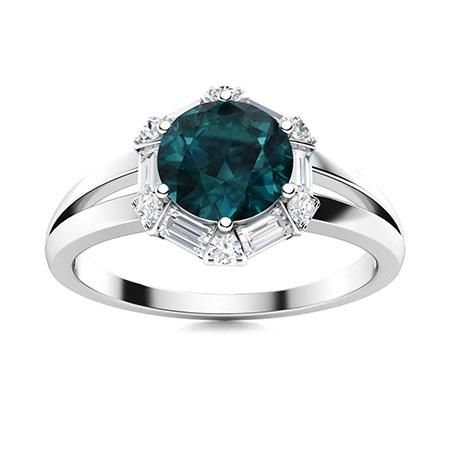 Natural 1.31 CTW Blue & White Diamond Engagement Ring