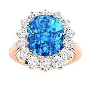 Natural 5.92 CTW Topaz & Diamond Engagement Ring 14K
