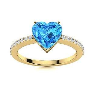 Natural 0.90 CTW Topaz & Diamond Engagement Ring 14K