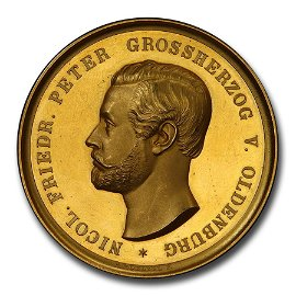 1860 Germany Oldenburg Gold Medal 13 Ducats Weight