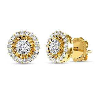 Natural 0.92 CTW Halo Diamond Earrings 18KT Yellow Gold