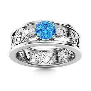 Natural 0.47 CTW Topaz & Diamond Engagement Ring 14K