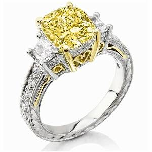 Natural 2.92 CTW Canary Yellow Cushion Cut & Trapezoids