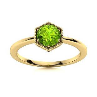 Natural 1.21 CTW Peridot Solitaire Ring 14K Yellow Gold