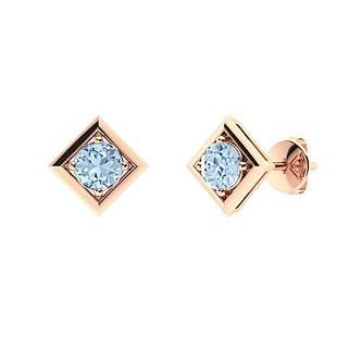 0.86 CTW Aquamarine Studs Earrings 18K Rose Gold