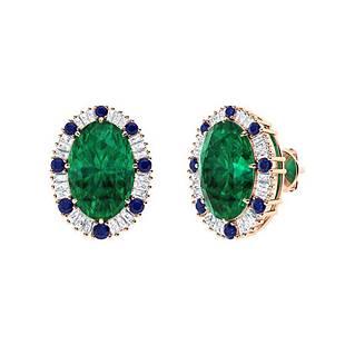 10.07 CTW Emerald Halo Earrings 14K Rose Gold