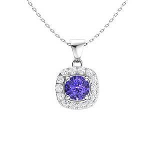 0.29 ctw Tanzanite & Diamond Necklace 14K White Gold
