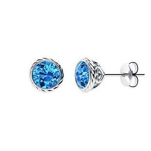 2.14 CTW Blue Topaz Studs Earrings 14K White Gold