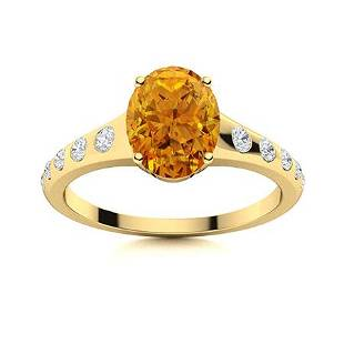 Natural 1.27 CTW Citrine & Diamond Engagement Ring 14K