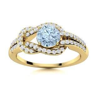 Natural 0.89 CTW Aquamarine & Diamond Engagement Ring