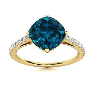 Natural 3.06 CTW Topaz & Diamond Engagement Ring 14K