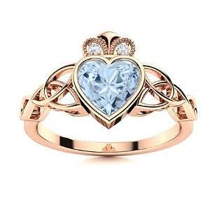Natural 0.53 CTW Aquamarine & Diamond Engagement Ring