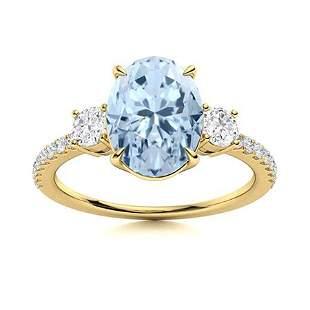 Natural 1.48 CTW Aquamarine & Diamond Engagement Ring