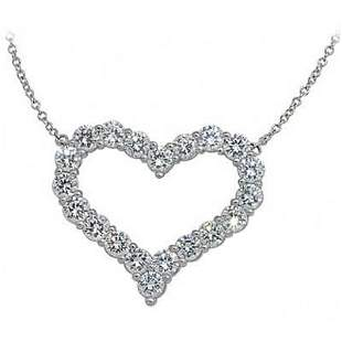 Natural 0.52 CTW White Gold Diamond Heart Pendant With