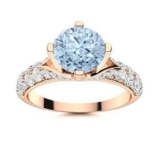 Natural 2.54 CTW Aquamarine & Diamond Engagement Ring