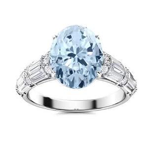 Natural 3.47 CTW Aquamarine & Diamond Engagement Ring