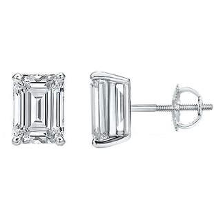 Natural 3.02 CTW Emerald Cut Diamond Stud Earrings 14KT