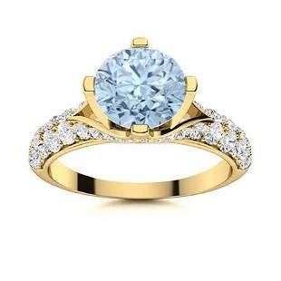 Natural 1.54 CTW Aquamarine & Diamond Engagement Ring