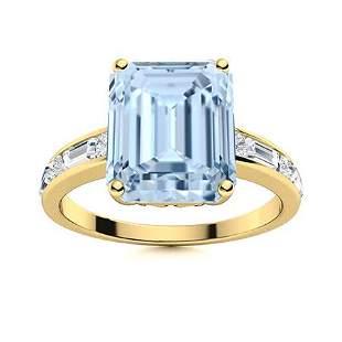 Natural 5.37 CTW Aquamarine & Diamond Engagement Ring