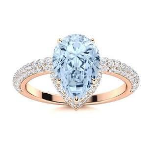 Natural 2.14 CTW Aquamarine & Diamond Engagement Ring