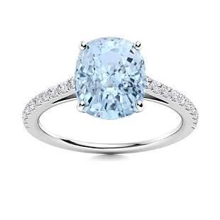 Natural 1.40 CTW Aquamarine & Diamond Engagement Ring